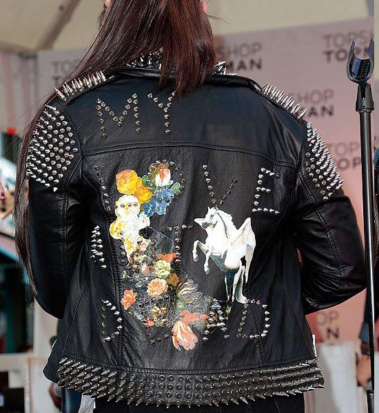 Demi Lovato wearingTopshop's spike-studded My Love Ain't Dead biker jacket