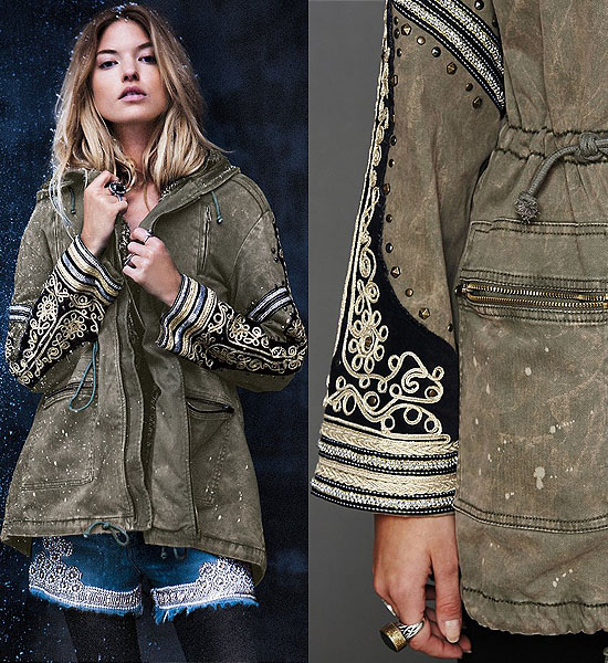 Distressed cargo jacket with beautiful stud and metallic embroidered embellishment on sleeves