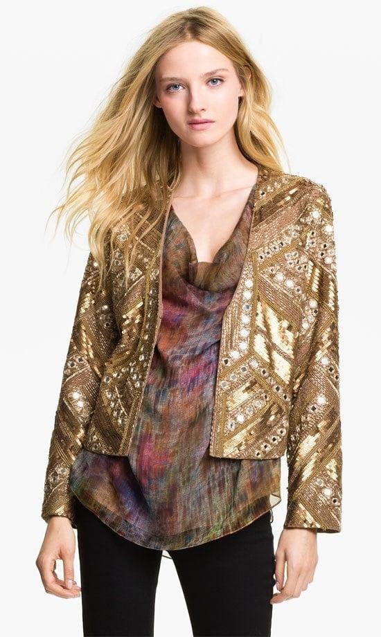 Haute Hippie Embellished Silk Jacket
