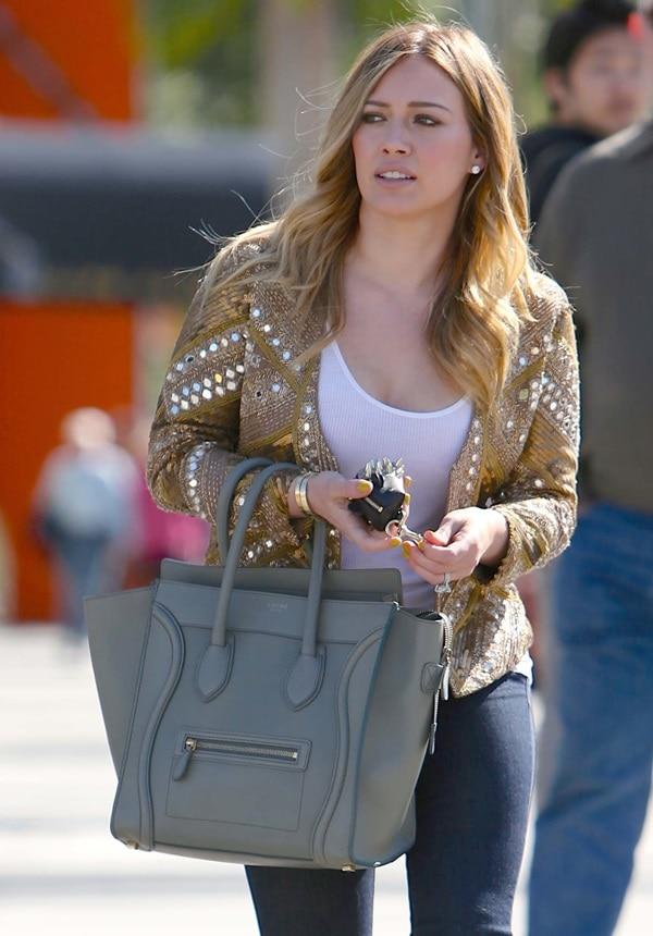 Hilary Duff wearing an embellished silk jacket