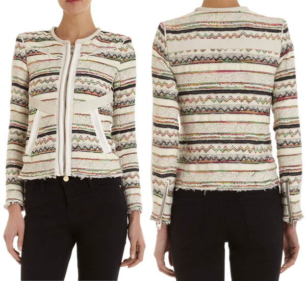 Her IRO jacket is made of cotton tweed and features multicolored embroidered lines that somewhat make it look tribal and yet very feminine