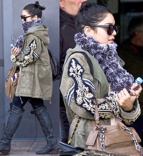 Vanessa Hudgens arrives at the Ciampino airport to promote her new film,Spring Breakers,in Rome on February 22, 2013