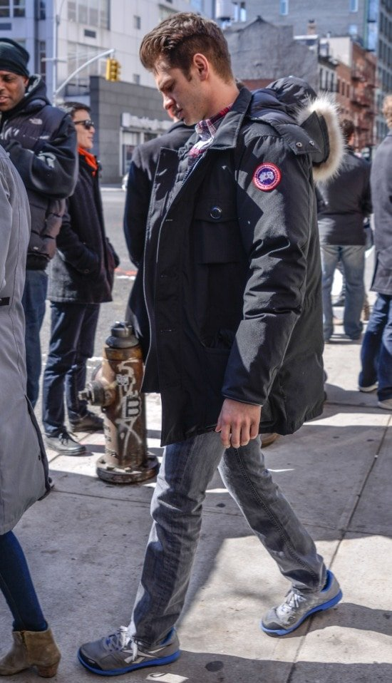 Andrew Garfield keeping warm in a Canada Goose jacket
