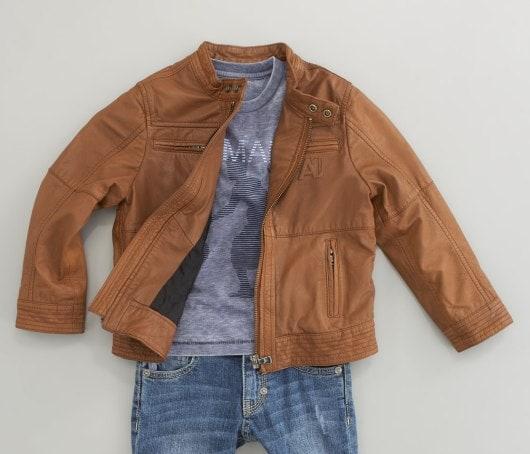 Armani Junior Leather Zip Jacket