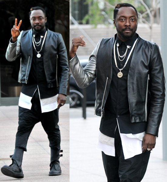 Black Eyed Peas front man Will.i.am filming on location his new music video in downtown Los Angeles