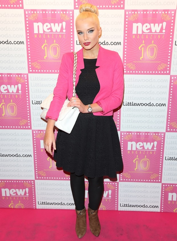 Helen Flanaganlooked like a real-life Barbie doll in a pink blazer worn over a little black dress
