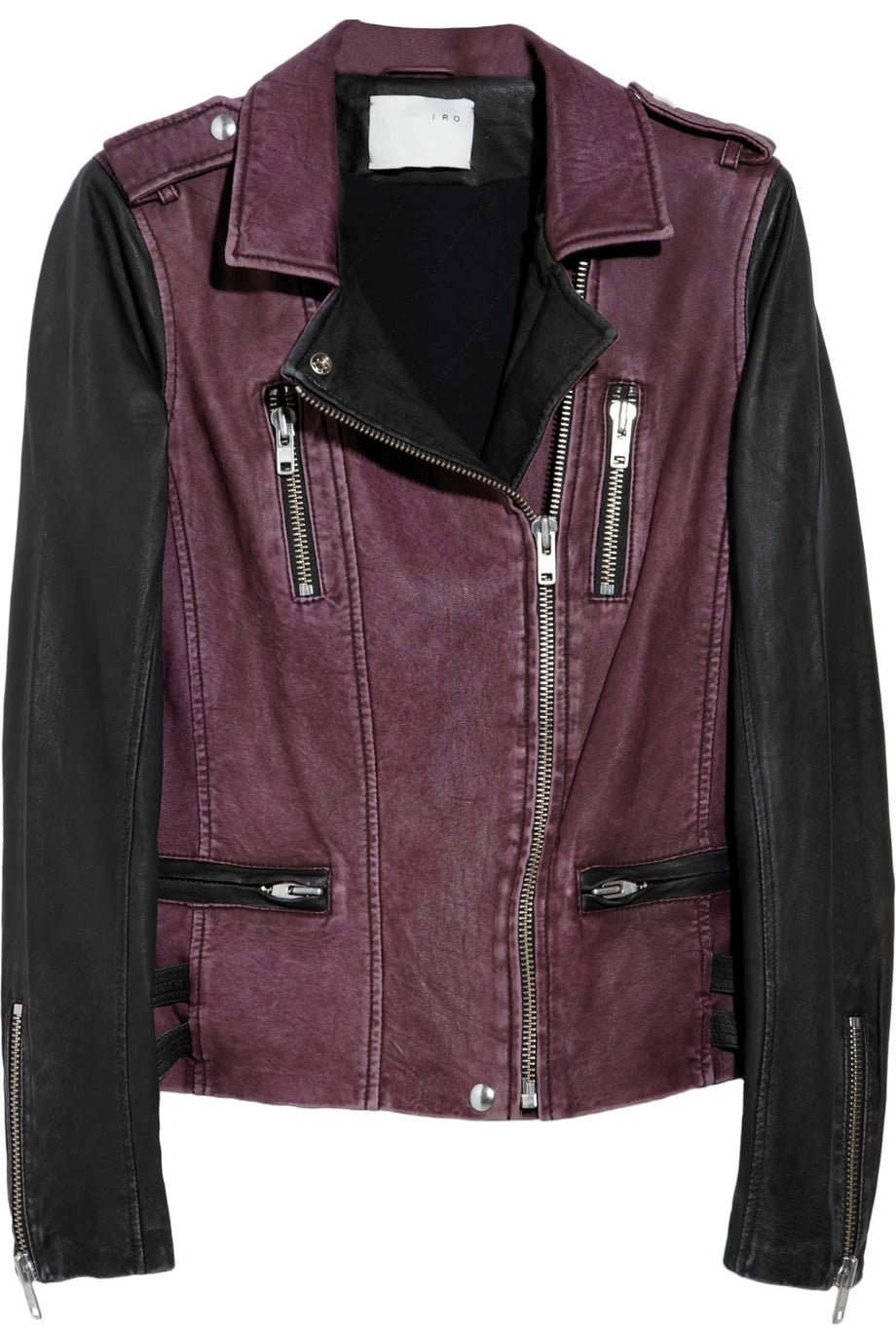 IRO's black and plum leather biker jacket adds the label's signature mix of downtown edge and Parisian chic to off-duty outfits