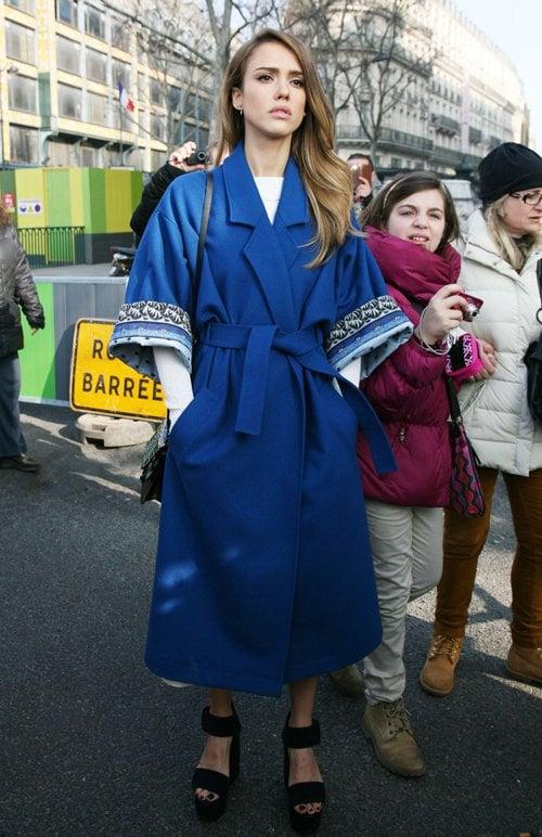 Jessica Alba in kimono style coat and platform sandals