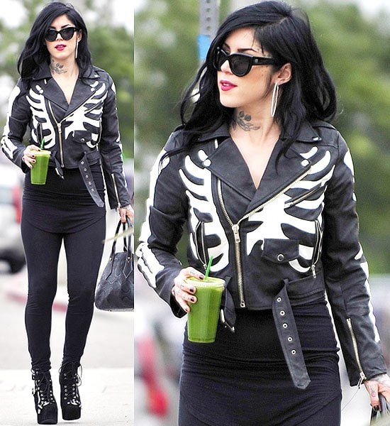 Kat Von D skeleton print jacket