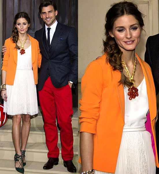 Olivia Palermo's orange Buffalo contrast lining blazer