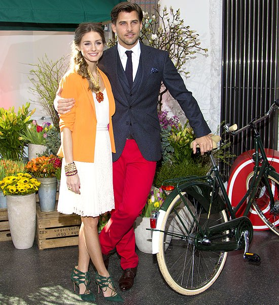 Olivia Palermo and Johannes Huebl at a photo call for Otto's Spring/Summer 2013 presentation