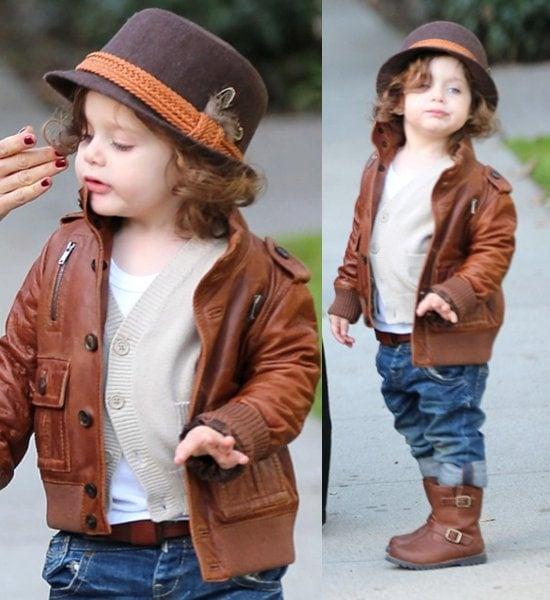 Rachel Zoe's son, Skyler Berman, in a leather jacket