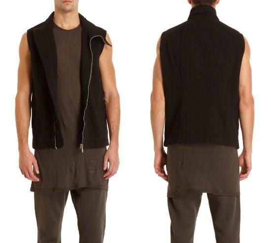 Rick Owens DRKSHDW Asymmetric Zip Front Vest