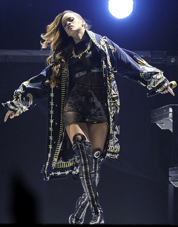 Rihanna performing live during her Diamonds World Tour