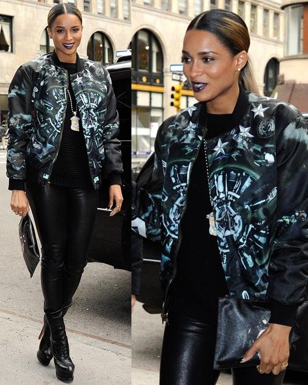Wearing a plane-print reversible bomber jacket, Ciara visits Music Choice's SWRV TV Network