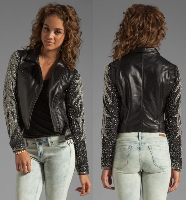 Veda Aquarius Leather Embellished Jacket