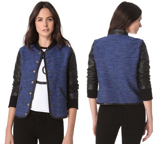 10 Crosby Derek Lam Varsity Leather Sleeve Jacket