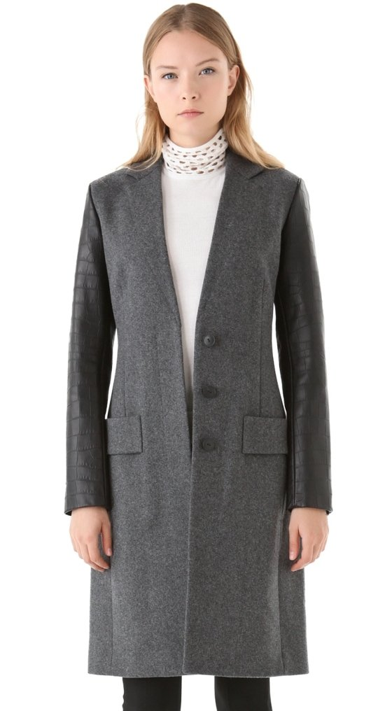 Long, croc-embossed leather sleeves add an edge to this wool Alexander Wang jacket