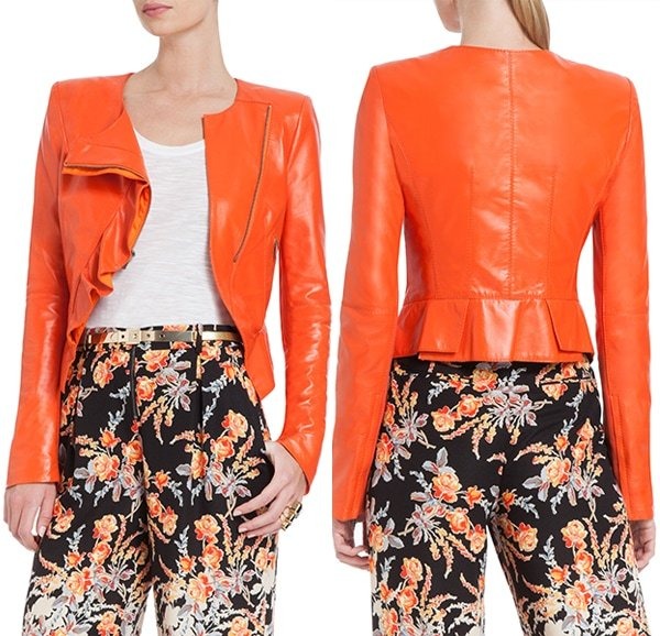 BCBGMAXAZRIA Kidd Asymmetrical-Ruffle Leather Jacket