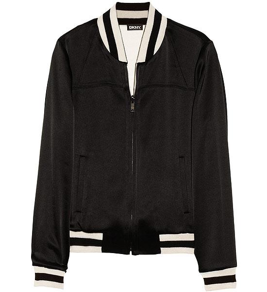 DKNY Reversible Satin Varsity Jacket