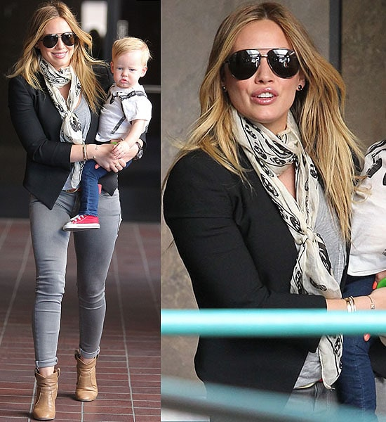Hilary Duff wearing a cropped blazer