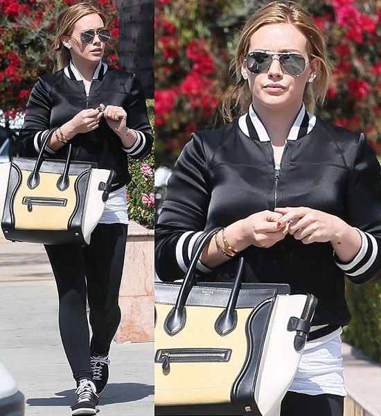 Hilary Duff rocking a sporty varsity jacket
