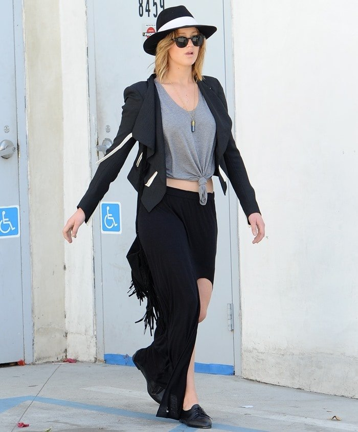 Jennifer Lawrence out to help a friend select a wedding dress at the Vera Wang boutique in West Hollywood on April 27, 2013