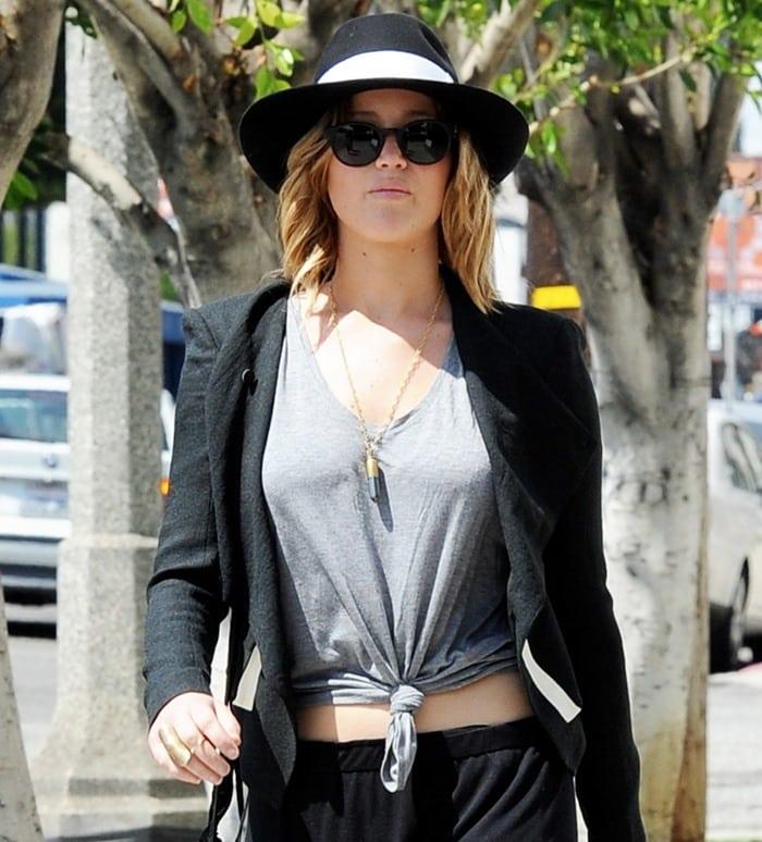 Jennifer Lawrence wearing Helmut Lang Sugar jacket
