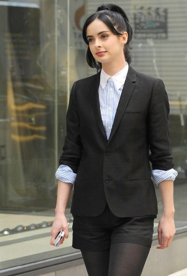 Krysten Ritter'smatching black blazer and shorts