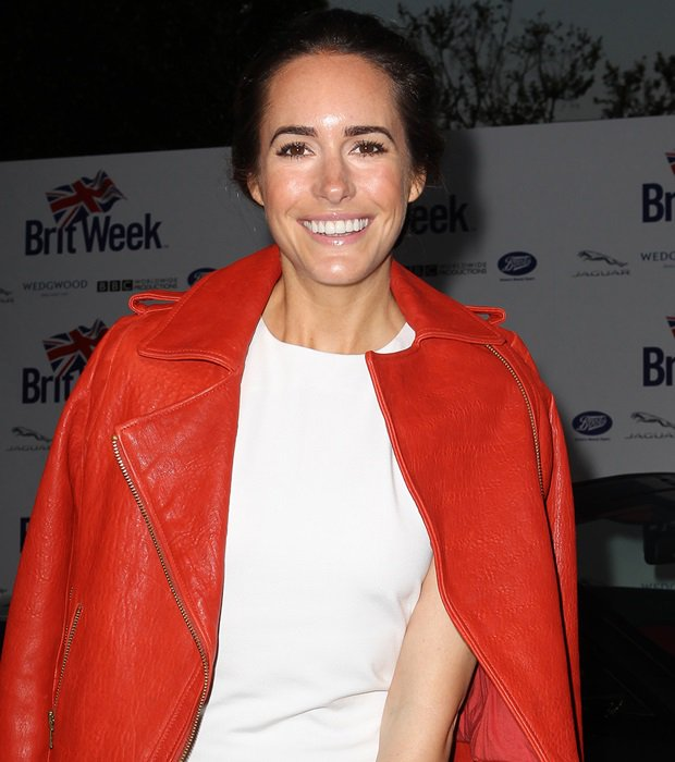 Louise Roe in a whiteMonika Chiang dress with a red Reiss jacket