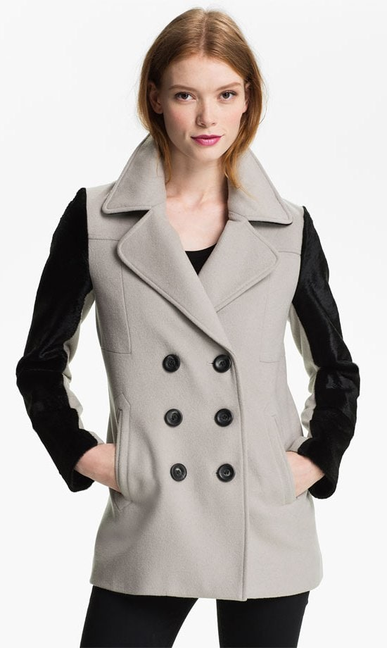Calf-hair sleeves frame a sophisticated wool-blend jacket in edgy opulence
