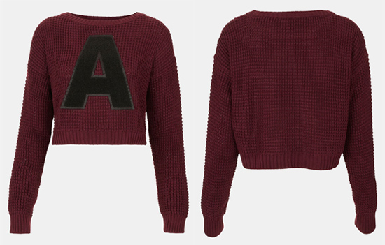 Topshop A Crop Letter Sweater