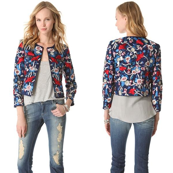 Alice + Olivia Embroidered Box Jacket