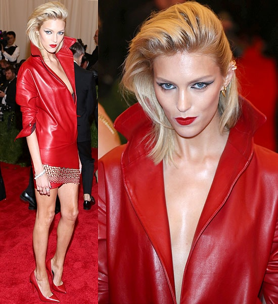 Anja Rubik wears a red dress inspired by a leather jacket