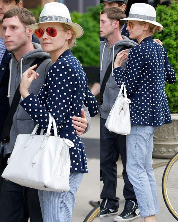 Diane Kruger was spotted looking casual chic in a polka-dot number