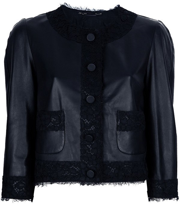 Dolce & Gabbana leather lace cropped jacket