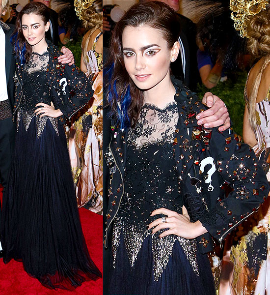 Lily Collins wearing a studded Moschino jacket