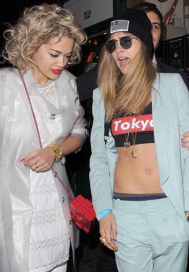 Rita Ora and Cara Delevingne leaving The Box Club in London in United Kingdom on May 1, 2013