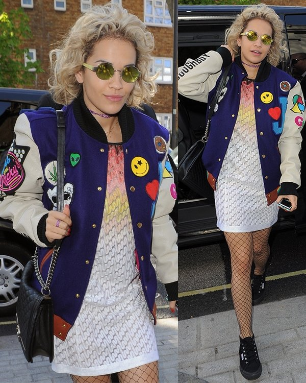 Rita Ora rocked another edgy androgynous style by wearing a varsity jacket