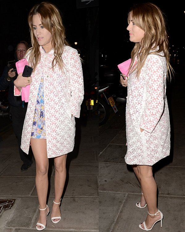 Caroline Flack flaunts her long legs outside The Groucho Club