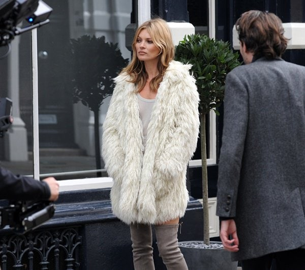 Kate Moss filming a new advertisement for luxury shoe brand Stuart Weitzman in London, England, on June 24, 2013