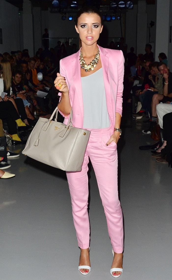 Lucy Mecklenburgh stole the spotlight in a pastel-colored outfit during the fashion show