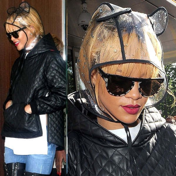 More angles of Rihanna's mouse-eared clear PVC hood