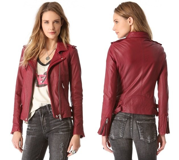 With its exposed silvertone zips, notch snap collar, and shoulder epaulets, this supple lambskin leather jacket embodies quintessential moto style