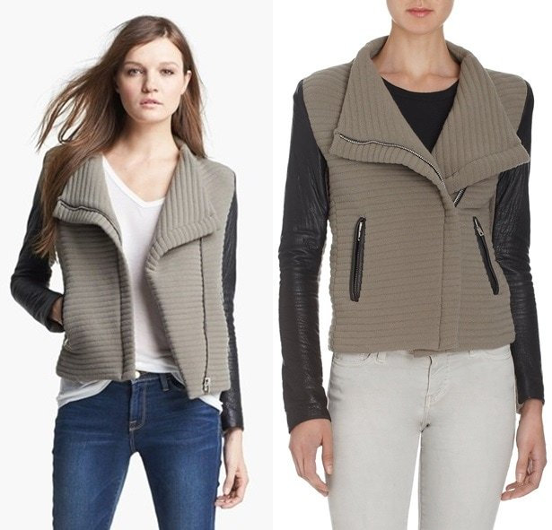Wrinkled leather sleeves add an edgy look to a ribbed-knit moto jacket, styled with a slouchy stand-up collar