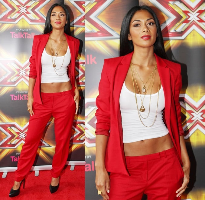 Nicole Scherzinger showed up in a red pantsuit by Hugo Boss at 'The X Factor' auditions