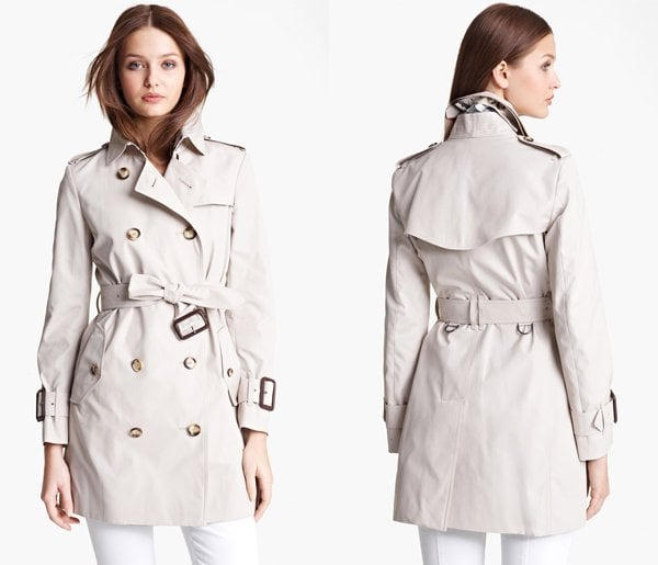 Burberry Brit Marystow Double Breasted Poplin Short Trench Coat