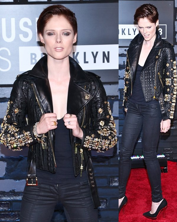 Coco Rocha in a Fausto Puglisi leather jacket, skinny black pants, and black pointed-toe pumps