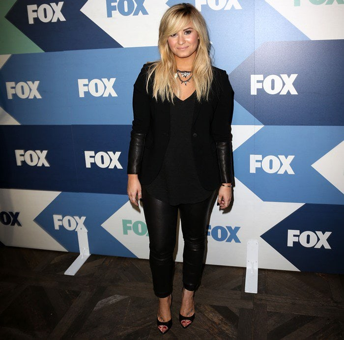Demi Lovato wearing a Rag & Bone 'Timeless' blazer with Theory 'Belisa' leather pants at the Fox Summer TCA All-Star Party in Los Angeles, California, on August 1, 2013