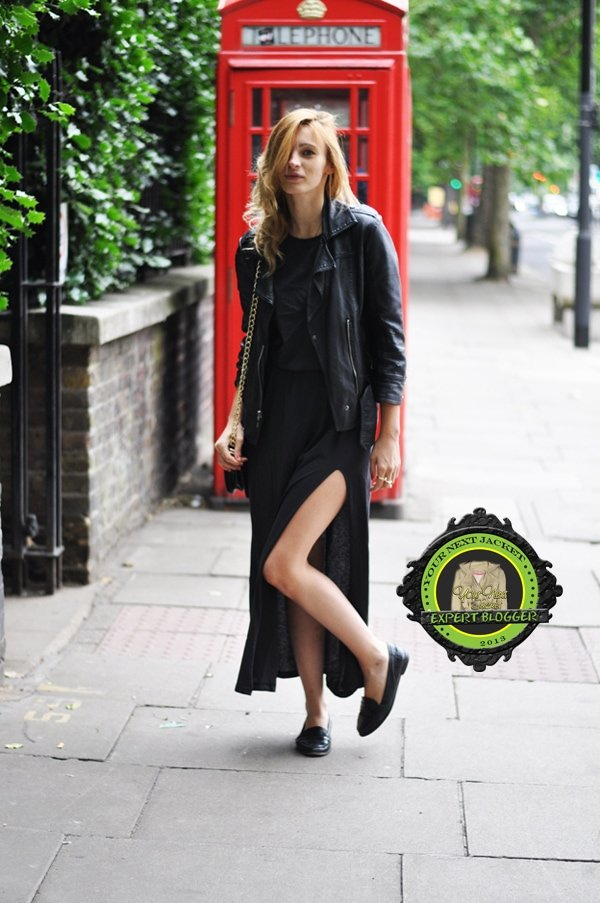 Estefania wore her jacket with a slitted maxi skirt, a simple top, and black loafers